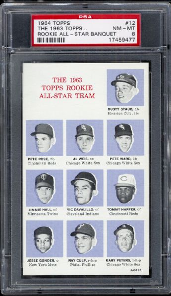 "1964 Topps #12 Rookie All Star Banquet ""1963 Topps All Star Team"" Including Pete Rose PSA 8 NM/MT"