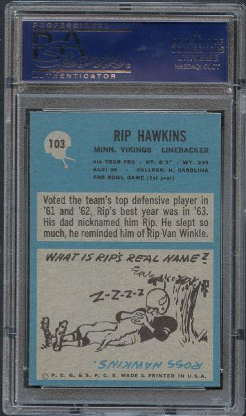 1964 Philadelphia #103 Rip Hawkins Minnesota Vikings Football Card