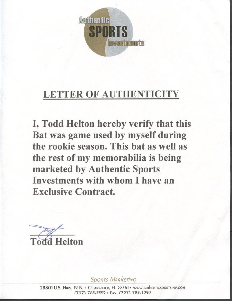 Lot Detail Todd Helton Colorado Rockies Rookie Season