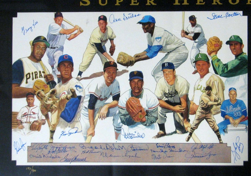 Lot Detail - Super Heroes of Sports Signed Lithograph by