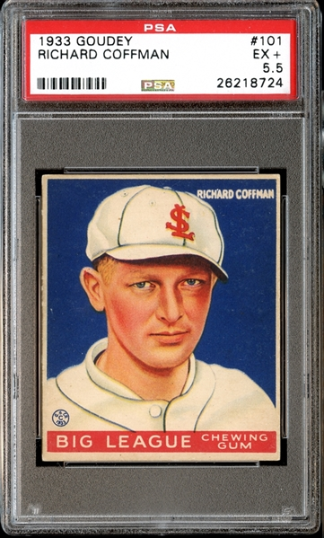 1933 Goudey #101 Richard Coffman PSA 5.5 EX+