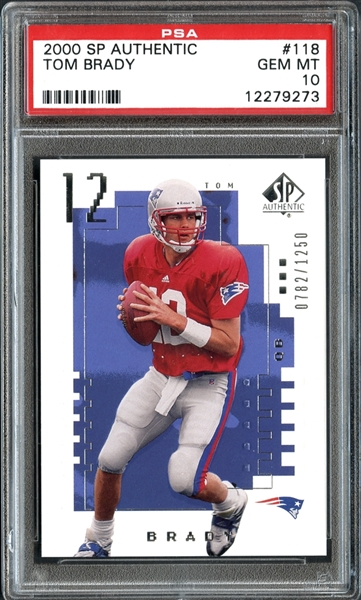2000 SP Authentic #118 Tom Brady PSA 10 GEM MINT