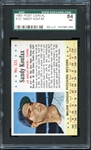 1963 Post Cereal #121 Sandy Koufax SGC 84 NM