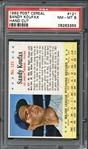 1963 Post Cereal #121 Sandy Koufax Hand PSA 8 NM/MT