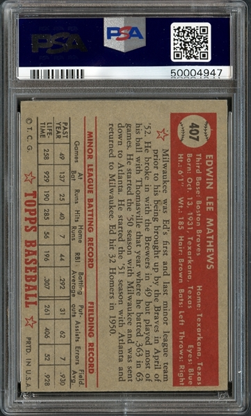 1952 Topps #407 Ed Mathews PSA 8 NM/MT