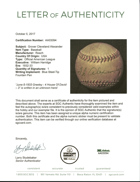 Grover Cleveland Alexander Single-Signed OAL (Harridge) Ball