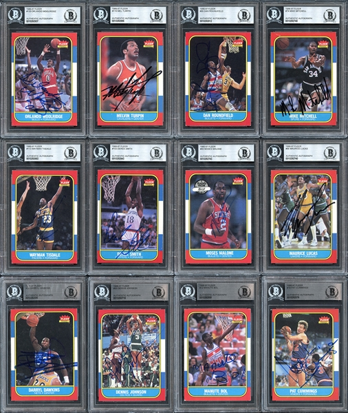 1986 Fleer Basketball Autographed Complete Set and Near Complete Sticker Set All BGS Authentic