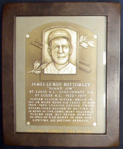 Jim Bottomley's Personal Hall of Fame Induction Plaque