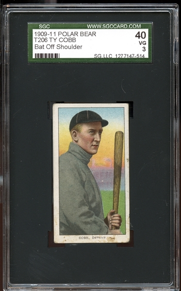 1909-11 T206 Polar Bear Ty Cobb Bat Off Shoulder SGC 40 VG 3