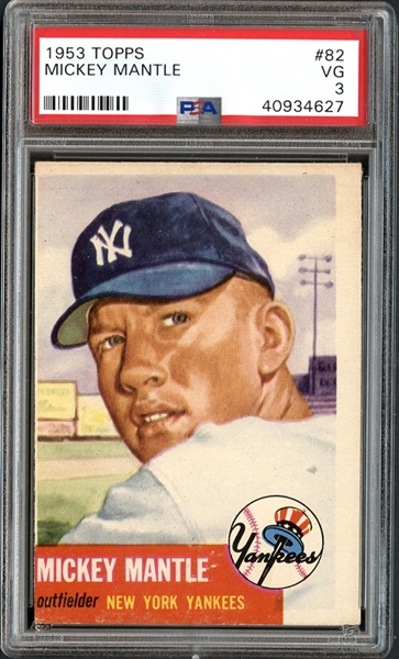 1953 Topps #82 Mickey Mantle PSA 3 VG