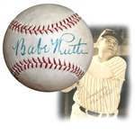 Spectacular Babe Ruth Single-Signed Baseball Graded NM/MT 8
