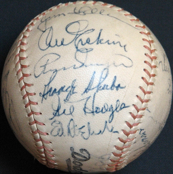 Exceptional 1955 Brooklyn Dodgers World Champions Team-Signed Baseball with (25) Signatures Including Koufax, Robinson, Campanella and Hodges