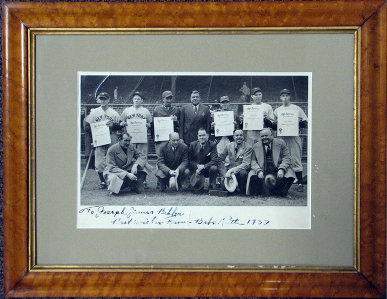 Babe Ruth Signed and Inscribed 1937 All America Award Photograph with Lou Gehrig and Joe DiMaggio