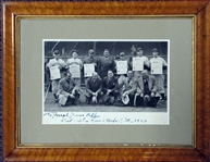 "Babe Ruth Signed and Inscribed 1937 ""All America"" Award Photograph with Lou Gehrig and Joe DiMaggio"