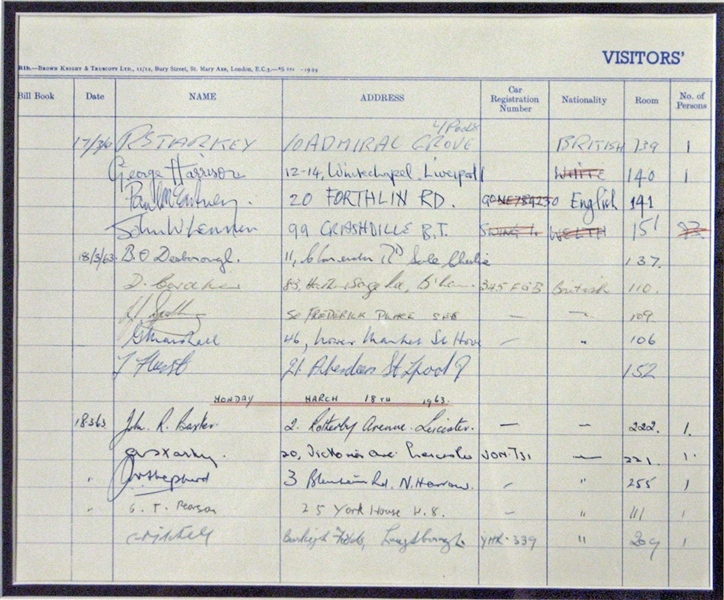 Incredible 1963 The Beatles Signed Hotel Register with All Four Members