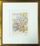 "Jerry Garcia Signed ""Fox-Trot TH-4 Romeo Cry-Baby Circus"" Lithographic Print 102/250 (J. Garcia 1992)"