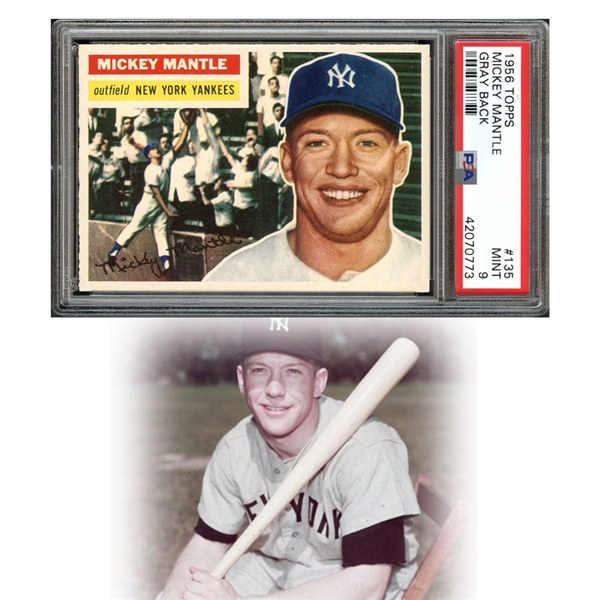 1956 Topps #135 Mickey Mantle Gray Back PSA 9 MINT