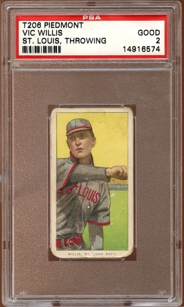 1909-11 T206 Piedmont 350-460/25 Vic Willis St. Louis Throwing PSA 2 GOOD