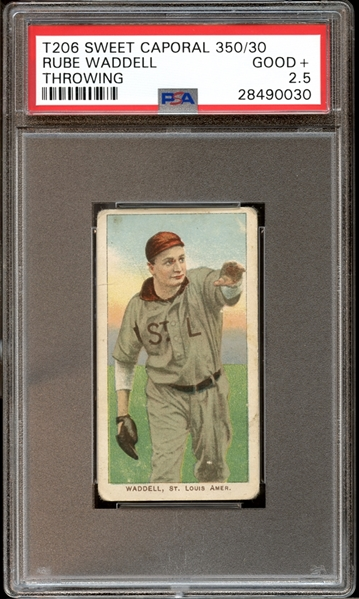 1909-11 T206 Sweet Caporal 350/30 Rube Waddell Throwing PSA 2.5 GOOD+