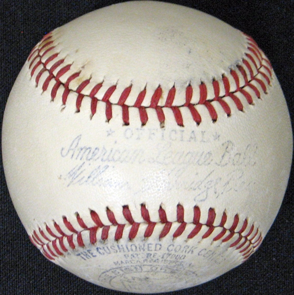Absolutely Stunning High-Grade Babe Ruth Single-Signed Rare Two-Star 1943 OAL (Harridge) Ball PSA/DNA and JSA