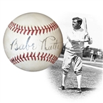 "Absolutely Stunning High-Grade Babe Ruth Single-Signed Rare ""Two-Star"" 1943 OAL (Harridge) Ball PSA/DNA and JSA"