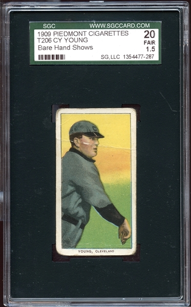 1909-11 T206 Piedmont 150/25 Cy Young Bare Hand Shows SGC 20 FAIR 1.5