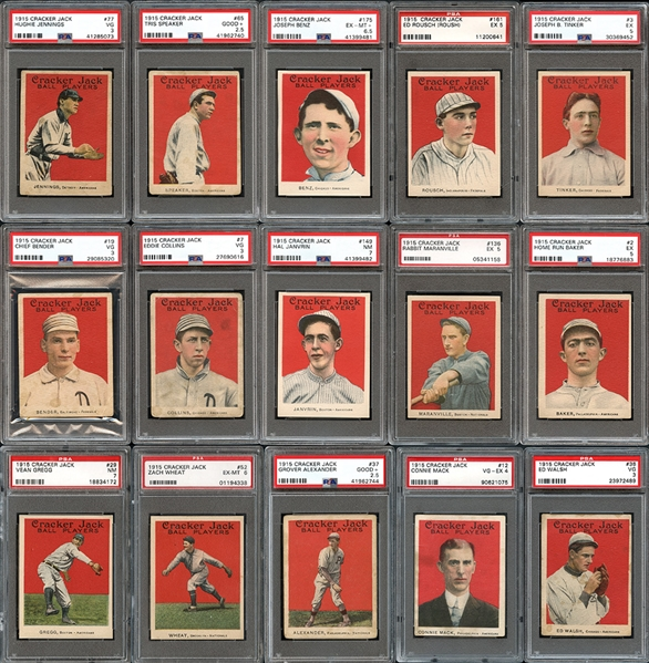 1915 Cracker Jack Near Complete Set 110/176 Completely PSA Graded