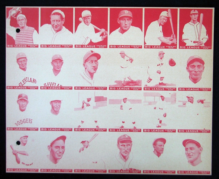 1933 V353 World Wide Gum (Canadian Goudey) Uncut Color-Process Proof Sheets Series of (8) Featuring Bengough and Seven HOFers with Jimmie Foxx