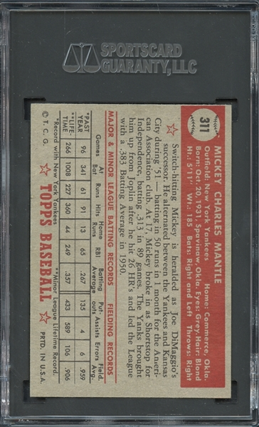 1952 Topps #311 Mickey Mantle SGC 7 NM