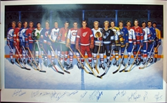 Ron Lewis 500 Goal Scorers Lithograph With (16) Signatures Featuring Howe, Hull, Mikita, Richard, Beliveau, Etc.