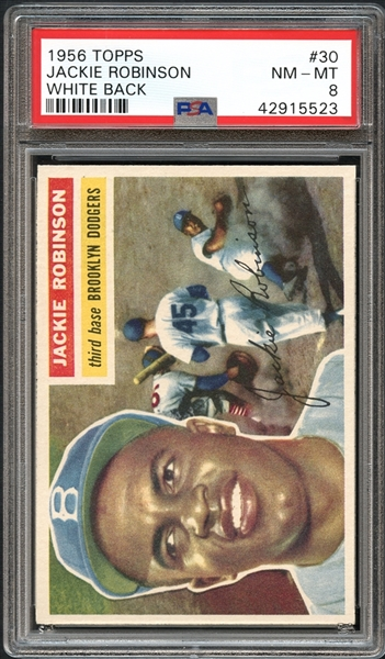 1956 Topps #30 Jackie Robinson White Back PSA 8 NM/MT