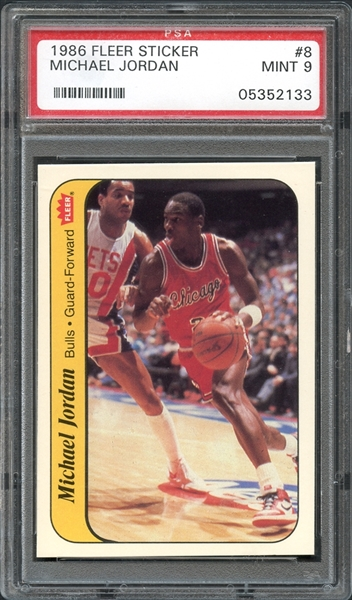 1986 Fleer Sticker #8 Michael Jordan PSA 9 MINT