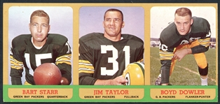 1963 Topps Football Salesman Three Card Panel Featuring Bart Starr and Jim Taylor