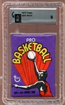 1972 Topps Basketball Unopened Wax Pack GAI 9 MINT