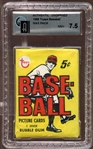1968 Topps Baseball Unopened Wax Pack GAI 7.5 NM+
