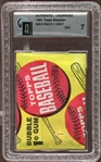1963 Topps Baseball Unopened Wax Pack GAI 7 NM
