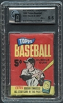 1965 Topps Baseball Wax Pack 2nd Series 5 Cent GAI 5.5 EX+ Mantle Homer on Back