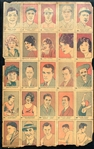 1926 W512 Uncut Sheet Featuring Babe Ruth, Rogers Hornsby, Tilden and Hagen
