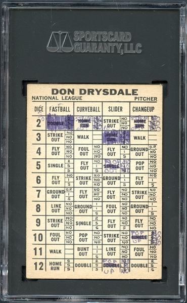 1961 Topps Dice Game Don Drysdale SGC 1 PR