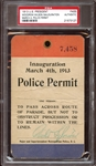 1913 Woodrow Wilson U.S. Presidential Inauguration Police Permit Pass PSA AUTHENTIC