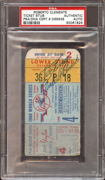 1960 Roberto Clemente Autographed World Series Game 4 Ticket Stub PSA AUTHENTIC