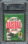 1962 Topps Baseball Authentic Unopened Wax Pack 5 Cent GAI 8.5 NM-MT+