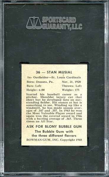 1948 Bowman #36 Stan Musial SGC 92 NM-MT+ 8.5