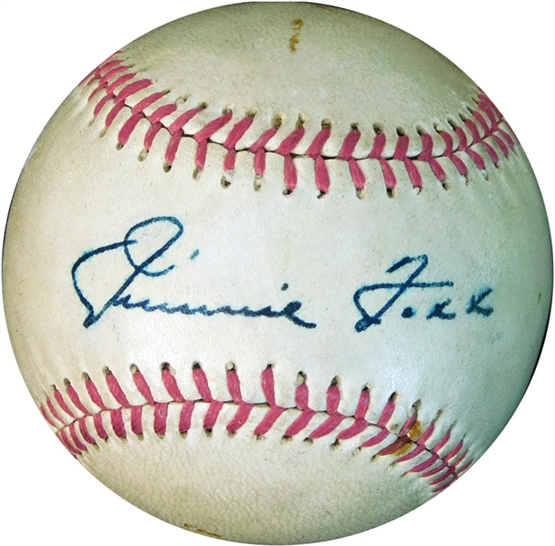 Exceptional Jimmie Foxx Single-Signed Baseball PSA/DNA Autograph Grade NM/MT 8