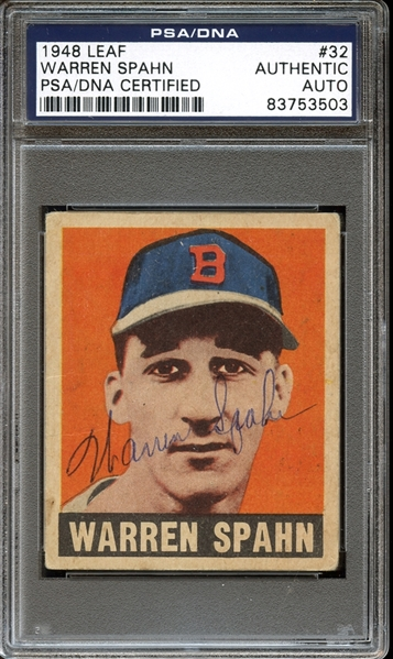 1948 Leaf #32 Warren Spahn Autographed PSA/DNA AUTHENTIC