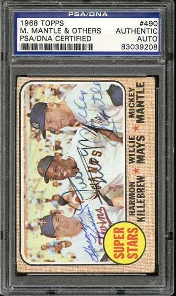 1968 Topps #490 Mickey Mantle / Willie Mays / Harmon Killebrew Autographed PSA/DNA AUTHENTIC