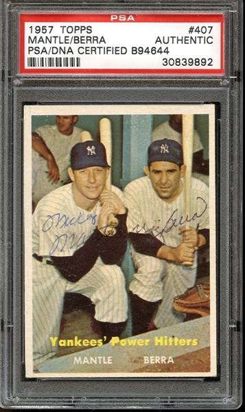 1957 Topps #407 Mickey Mantle/Yogi Berra Autographed PSA/DNA AUTHENTIC
