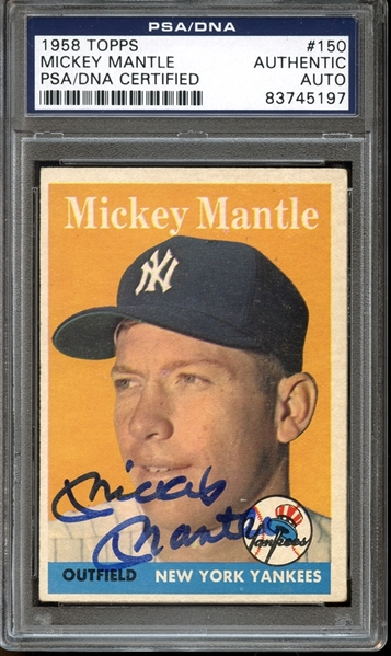 1958 Topps #150 Mickey Mantle Autographed PSA/DNA AUTHENTIC