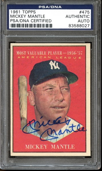 1961 Topps #475 Mickey Mantle MVP Autographed PSA/DNA AUTHENTIC