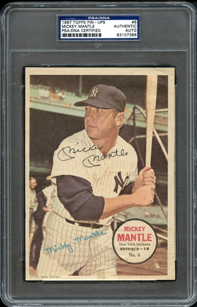 1967 Topps Pin-Ups #6 Mickey Mantle Autographed PSA/DNA AUTHENTIC